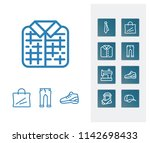 clothes icon set and plaid with ...