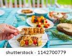 delicious grilled chicken... | Shutterstock . vector #1142700779