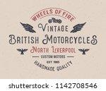 british motorcycles typography. ... | Shutterstock .eps vector #1142708546