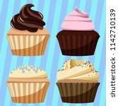 set of cupcake design | Shutterstock .eps vector #1142710139