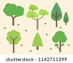 green tree forest background ... | Shutterstock .eps vector #1142711399