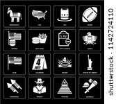 set of 16 icons such as... | Shutterstock .eps vector #1142724110