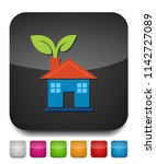 green house and leaves  eco... | Shutterstock .eps vector #1142727089
