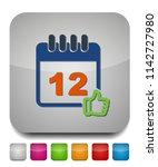 calendar approved date icon ... | Shutterstock .eps vector #1142727980