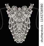 neck embroidery  lace print in... | Shutterstock .eps vector #1142728580
