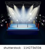 boxing ring with illumination... | Shutterstock .eps vector #1142736536