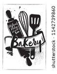 horizontal charcoal bakery... | Shutterstock .eps vector #1142739860