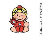 little robot kids.vector mascot ... | Shutterstock .eps vector #1142740250