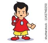 little robot kids.vector mascot ... | Shutterstock .eps vector #1142740253