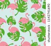 seamless repeat flamingo... | Shutterstock .eps vector #1142741690