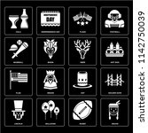 set of 16 icons such as indian  ...