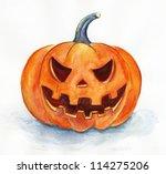 Halloween Pumpkin. Watercolor...