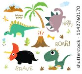 cute vector dinosaurs isolated... | Shutterstock .eps vector #1142760170
