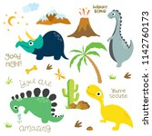 Cute Vector Dinosaurs Isolated...