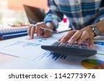 businessman or accountant... | Shutterstock . vector #1142773976