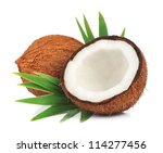 Coconuts With Leaves On A White ...