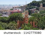 panoramic view of barcelona... | Shutterstock . vector #1142775080