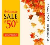 autumn leaves background sale   Shutterstock .eps vector #1142779973