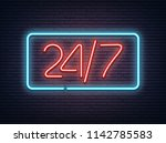 blue and red neon luminous 24 7 ... | Shutterstock .eps vector #1142785583