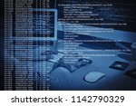 hacker working with computer at ... | Shutterstock . vector #1142790329
