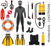 collection for scuba diving and ... | Shutterstock .eps vector #1142791046