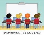 school students using laptop... | Shutterstock .eps vector #1142791760