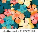 hawaiian watercolor pattern.... | Shutterstock . vector #1142798123