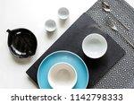strict table setting. white... | Shutterstock . vector #1142798333
