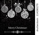 vintage card with christmas... | Shutterstock . vector #114280270