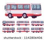 red bus set. single decker... | Shutterstock .eps vector #1142806406