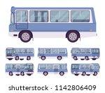 blue bus set. single decker... | Shutterstock .eps vector #1142806409