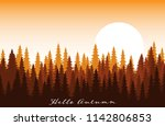 autumn background with forest... | Shutterstock .eps vector #1142806853