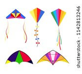 set of colored colorful kites... | Shutterstock .eps vector #1142813246