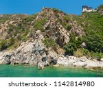 monastery buildings on mount... | Shutterstock . vector #1142814980