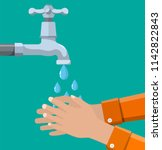 hands under falling water out... | Shutterstock .eps vector #1142822843