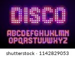 disco lights digital alphabet.... | Shutterstock .eps vector #1142829053