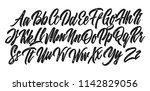 grunge lettering alphabet.... | Shutterstock .eps vector #1142829056