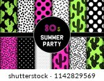 cute set of 80s summer party... | Shutterstock .eps vector #1142829569