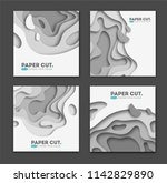 set of square banner templates... | Shutterstock .eps vector #1142829890