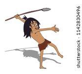 caveman hunting  funny cartoon... | Shutterstock .eps vector #1142830496