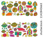 vector doodle pattern with... | Shutterstock .eps vector #1142843663