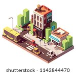 vector isometric hotel building ... | Shutterstock .eps vector #1142844470