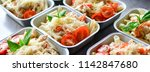prepared diet lunches in lunch... | Shutterstock . vector #1142847680