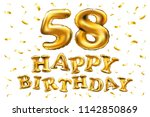 raster copy happy birthday 58th ... | Shutterstock . vector #1142850869
