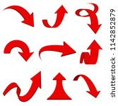 red 3d arrows. bent and curled... | Shutterstock .eps vector #1142852879