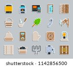sauna equipment sticker icons... | Shutterstock .eps vector #1142856500