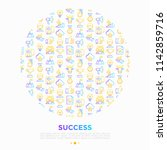 success concept in circle thin... | Shutterstock .eps vector #1142859716