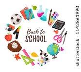 hand drawn school objects in... | Shutterstock .eps vector #1142861990