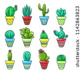 home cactus set. green plants... | Shutterstock .eps vector #1142863823