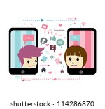 love in social network | Shutterstock .eps vector #114286870